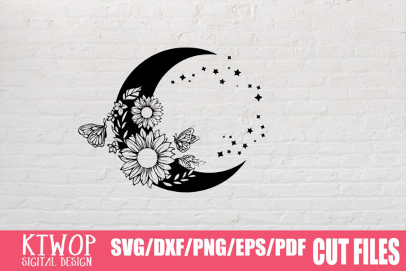 Print on Demand: Moon Butterfly Sunflower Bundle  Graphic Crafts By KtwoP - Image 12