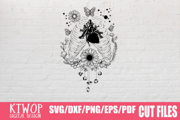 Print on Demand: Moon Butterfly Sunflower Bundle  Graphic Crafts By KtwoP - Image 18