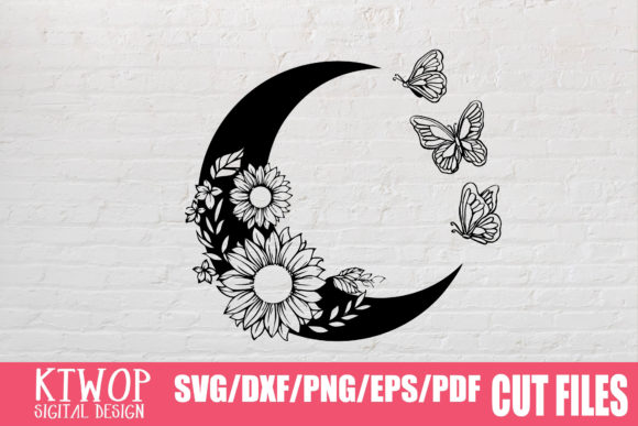Print on Demand: Moon Butterfly Sunflower Bundle  Graphic Crafts By KtwoP - Image 2