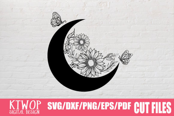 Print on Demand: Moon Butterfly Sunflower Bundle  Graphic Crafts By KtwoP - Image 4