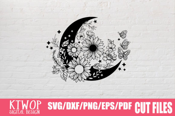 Download Free Moon Butterfly Sunflower Bundle Graphic By Ktwop Creative Fabrica SVG Cut Files