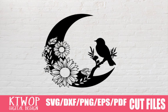 Print on Demand: Moon Butterfly Sunflower Bundle  Graphic Crafts By KtwoP - Image 9