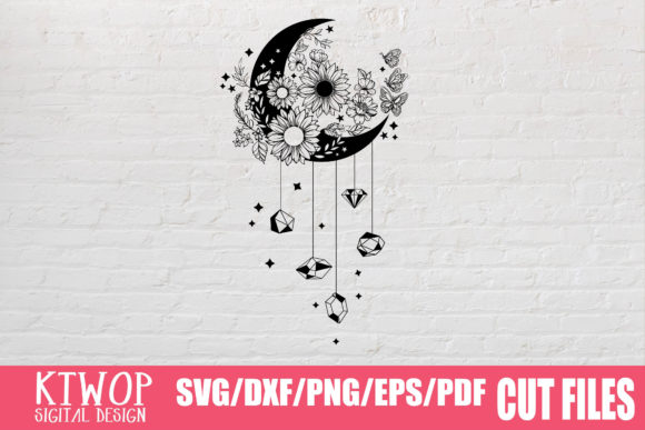 Download Free Moon Butterfly Sunflower Graphic By Ktwop Creative Fabrica SVG Cut Files