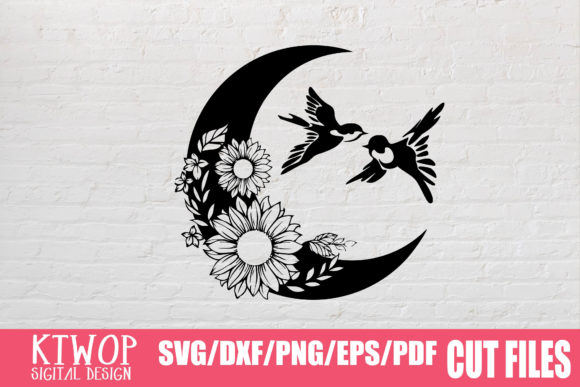 Download Free Moon Butterfly Sunflower Graphic By Ktwop Creative Fabrica for Cricut Explore, Silhouette and other cutting machines.