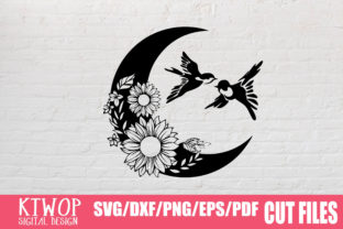 Print on Demand: <a>Moon Butterfly Sunflower</a> Graphic Crafts By KtwoP