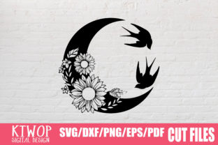 Print on Demand: Moon Butterfly Sunflower Graphic Crafts By KtwoP