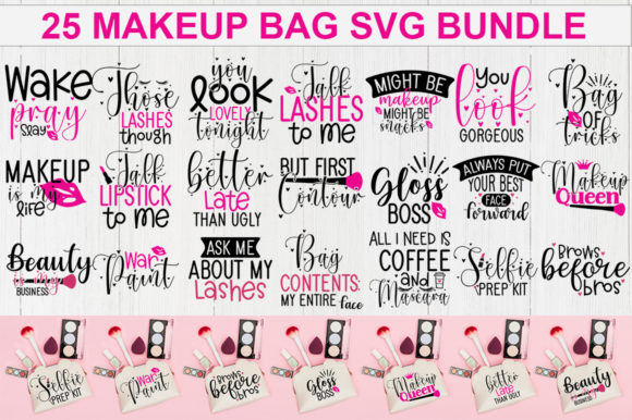 Download Free Makeup Bag Bundle Graphic By Designdealy Com Creative Fabrica for Cricut Explore, Silhouette and other cutting machines.