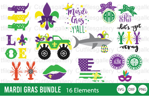 Download Free 2 Mardi Gras Truck Svg Designs Graphics for Cricut Explore, Silhouette and other cutting machines.