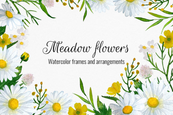 Meadow Flowers Watercolor Cliparts, Bouq Graphic Illustrations By RedDotsHouse