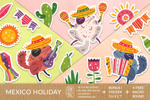 Download Free Mexico Party Clipart Digital Stickers Graphic By Foxbiz for Cricut Explore, Silhouette and other cutting machines.