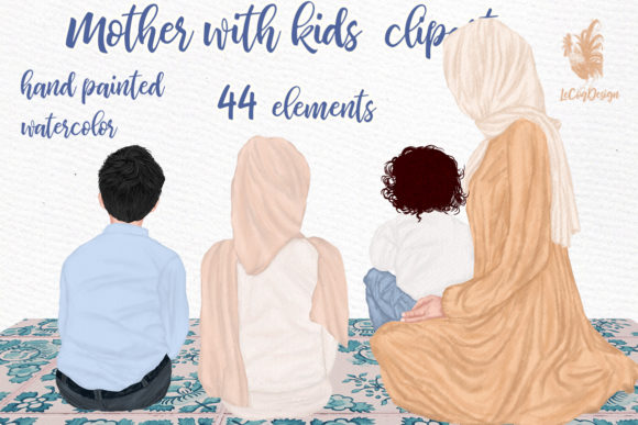 Muslim Mother and Children Clipart Graphic Illustrations By LeCoqDesign