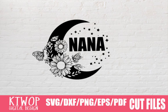 Download Free Nana Moon Butterfly Sunflower Graphic By Ktwop Creative Fabrica for Cricut Explore, Silhouette and other cutting machines.