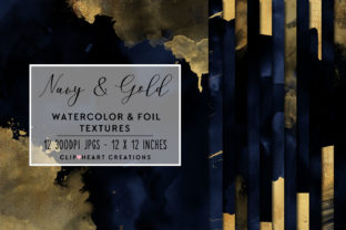 Navy & Gold Watercolor and Foils Graphic Backgrounds By clipheartcreations