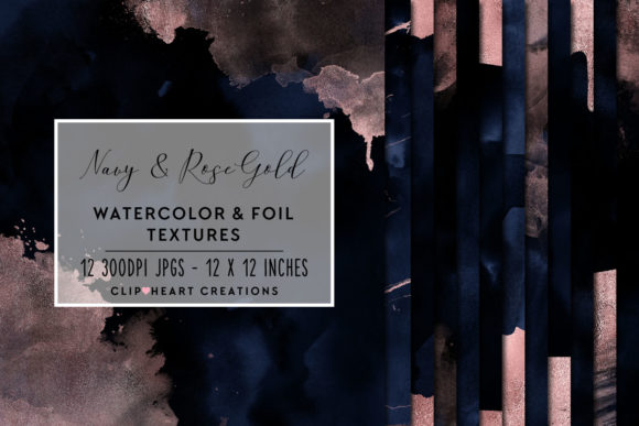 Navy & Rose Gold Watercolor and Foils Graphic Backgrounds By clipheartcreations