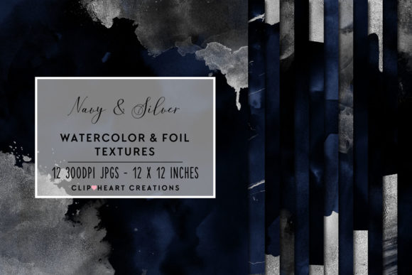 Navy & Silver Watercolor and Foils Graphic Backgrounds By clipheartcreations