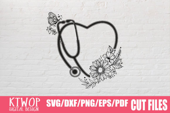 Download Free Nurse Heart Stethoscope Graphic By Ktwop Creative Fabrica for Cricut Explore, Silhouette and other cutting machines.