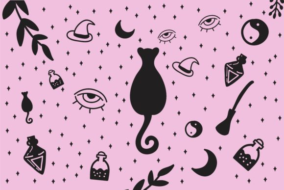 Download Free Occult Clipart Cat Graphic By Belangbiru Creative Fabrica for Cricut Explore, Silhouette and other cutting machines.