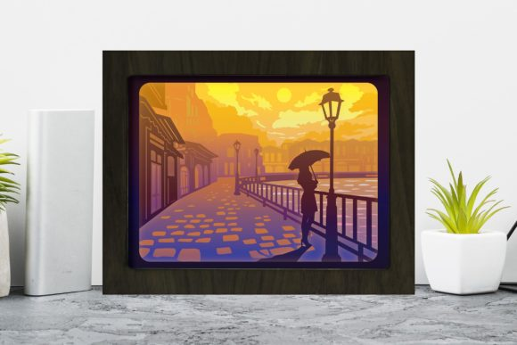 Old Street Lantern 1 3D Paper Cutting Lightbox Graphic 3D Shadow Box By LightBoxGoodMan