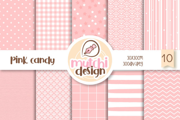 Print on Demand: Pink Candy Color Digital Papers Graphic Backgrounds By Mutchi Design