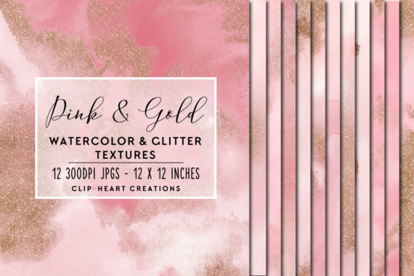 Pink Glitter Watercolor Digital Papers Graphic Backgrounds By clipheartcreations