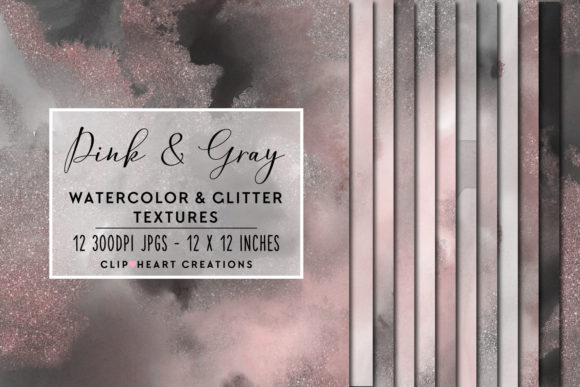 Pink & Gray Glitter Watercolor Digital P Graphic Backgrounds By clipheartcreations