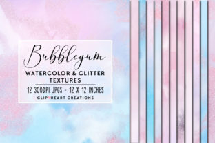 Pink and Blue Glitter Watercolor Papers Graphic Backgrounds By clipheartcreations