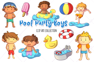 Print on Demand: Pool Party Boys Clip Art Collection Graphic Illustrations By Keepinitkawaiidesign