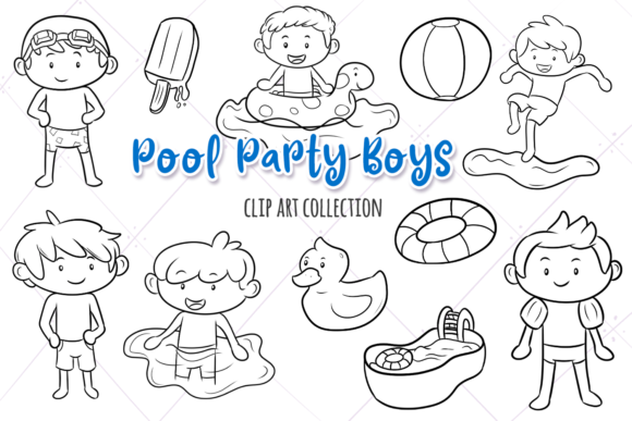 Print on Demand: Pool Party Boys Digital Stamps Graphic Illustrations By Keepinitkawaiidesign