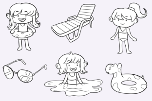 Print on Demand: Pool Party Girls Digital Stamps Graphic Illustrations By Keepinitkawaiidesign 3