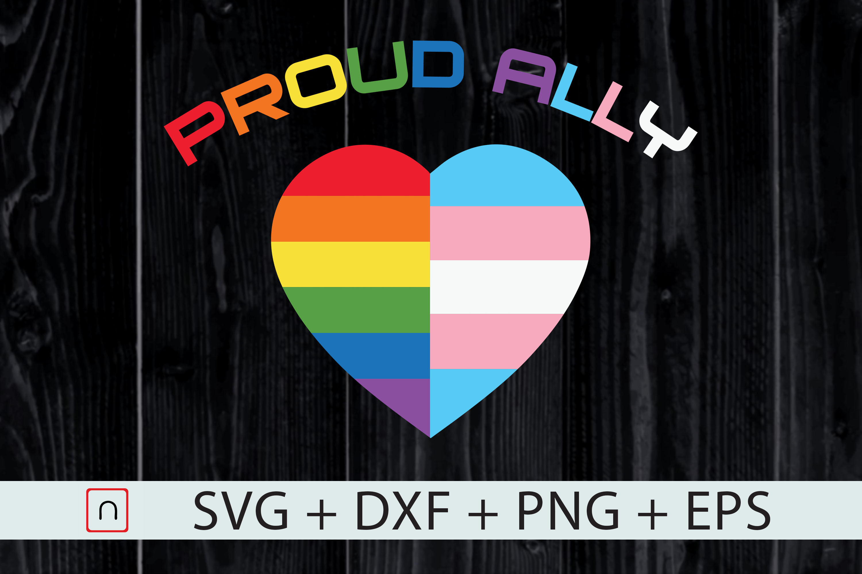 Download Free Proud Ally Lgbt Rainbow Heart Cricut Graphic By Novalia for Cricut Explore, Silhouette and other cutting machines.