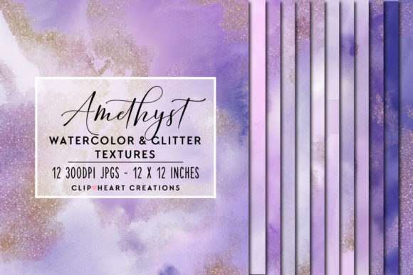 Purple Glitter Watercolor Digital Papers Graphic Backgrounds By clipheartcreations