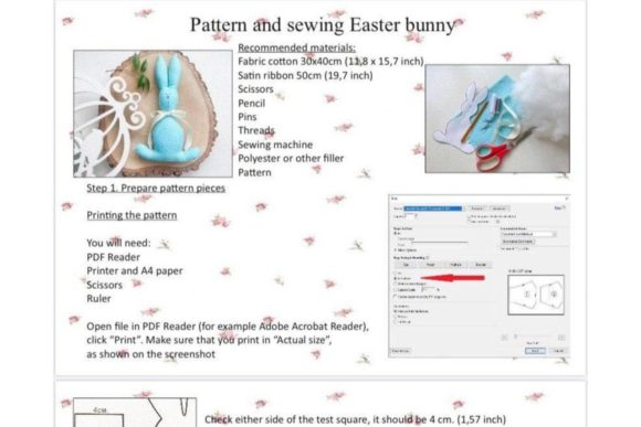Download Free Rabbit Toy Easter Sewing Pattern Graphic By Cotton Miracle for Cricut Explore, Silhouette and other cutting machines.