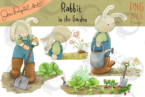 Rabbit in the Garden Graphic Illustrations By Jen Digital Art