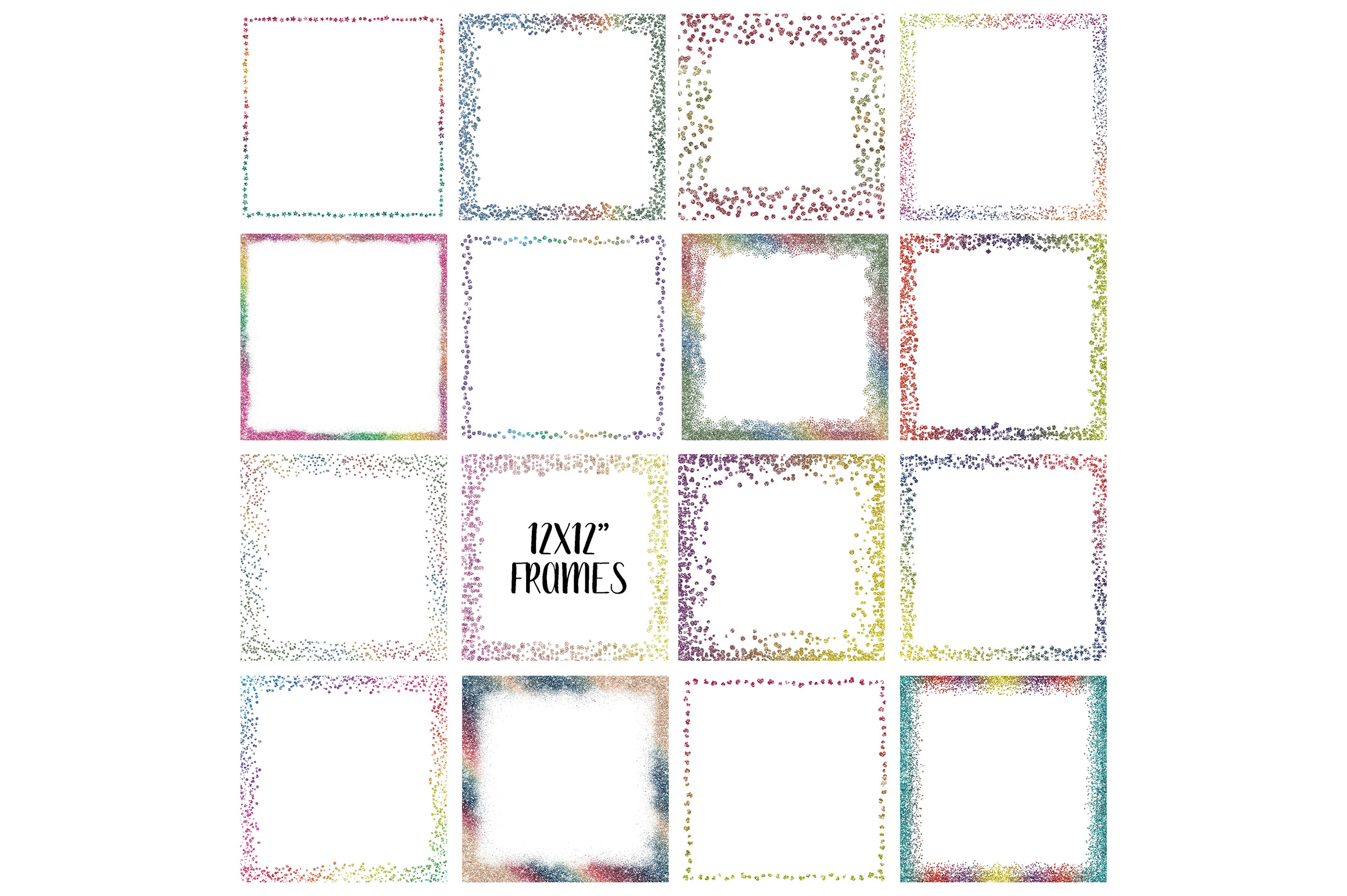 Rainbow Glitter Frames And Borders Graphic By Oldmarketdesigns