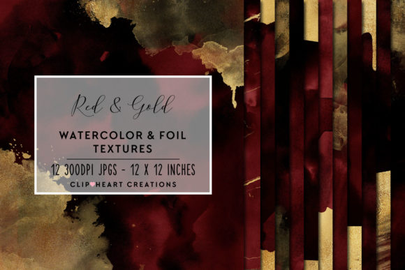 Red & Gold Watercolor and Foils Graphic Backgrounds By clipheartcreations