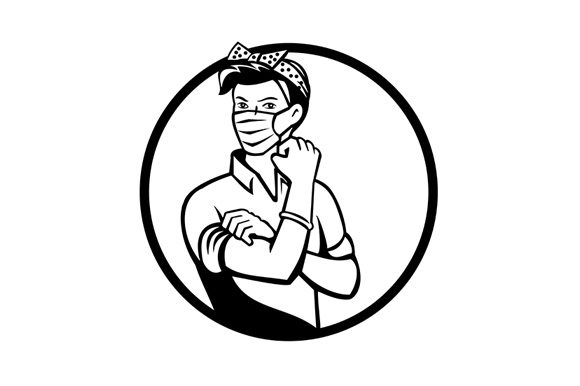 Download Free Rosie The Riveter Wearing Mask Graphic By Patrimonio Creative for Cricut Explore, Silhouette and other cutting machines.