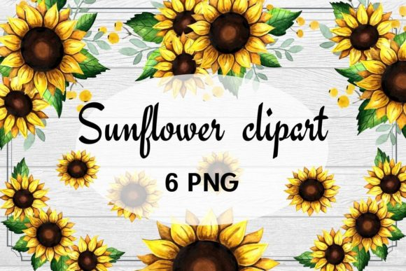 Print on Demand: Rustic Sunflower Clipart Watercolor Gráfico Ilustraciones Por  Magic world of design