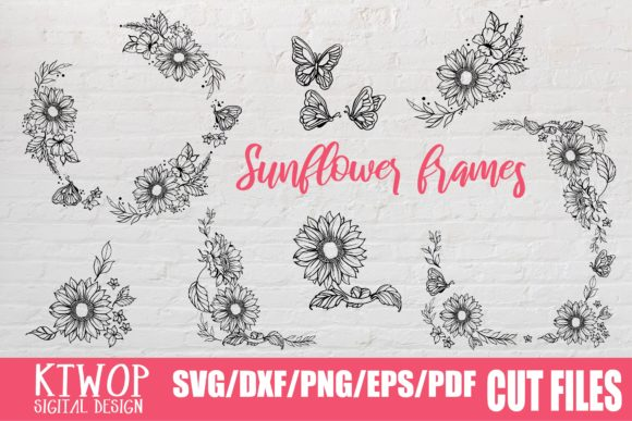 Download Free Sunflower And Butterfly Frame Graphic By Ktwop Creative Fabrica for Cricut Explore, Silhouette and other cutting machines.