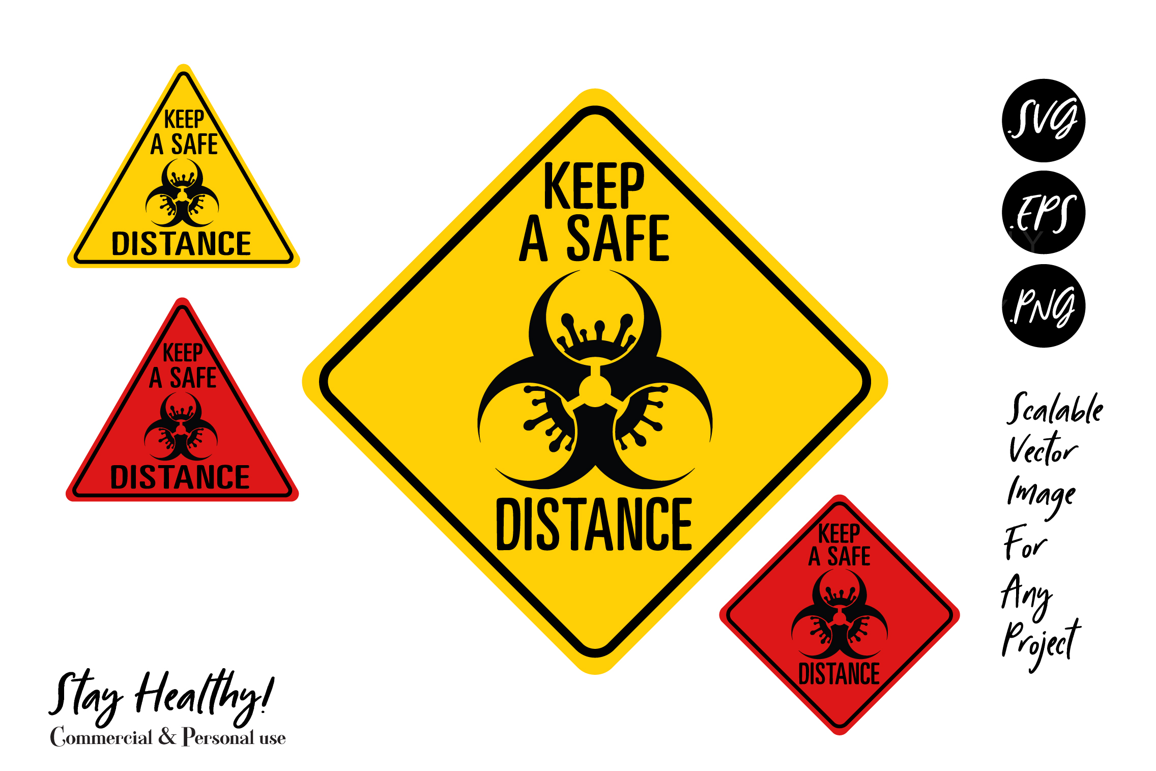 Download Free Save Distance Warning Virus Signs Hazard Graphic By Adlydigital for Cricut Explore, Silhouette and other cutting machines.