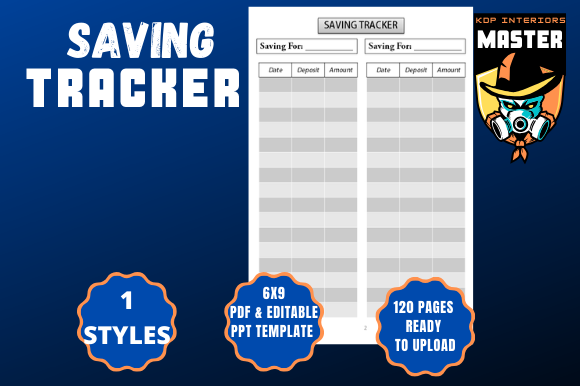 Download Free Saving Tracker Logbook Graphic By Kdp Interiors Master for Cricut Explore, Silhouette and other cutting machines.