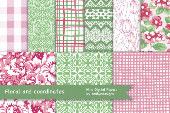Download Free Seamless Pink And Green Floral Graphic By Emikundesigns for Cricut Explore, Silhouette and other cutting machines.