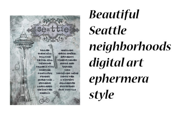 Print on Demand: Seattle Neighborhoods Digital Art Graphic Illustrations By A Design in Time