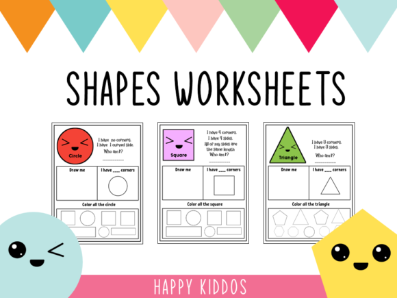 Download Free Shapes Worksheets Graphic By Happy Kiddos Creative Fabrica for Cricut Explore, Silhouette and other cutting machines.