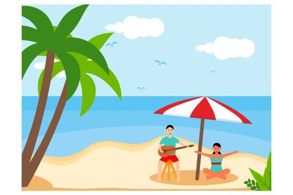 Download Free Simple Summer Beach Tourism Flat Graphic By Redvy Creative for Cricut Explore, Silhouette and other cutting machines.