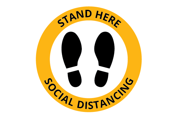 Print on Demand: Stay Here Social Distancing Sign - Floor Graphic Illustrations By Ex Nihilo