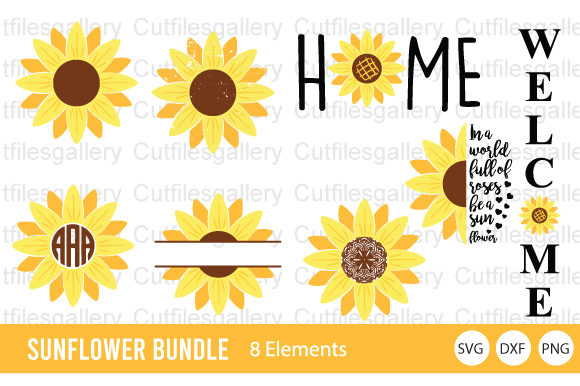 Download Free Sunflower Bundle Graphic By Cutfilesgallery Creative Fabrica for Cricut Explore, Silhouette and other cutting machines.