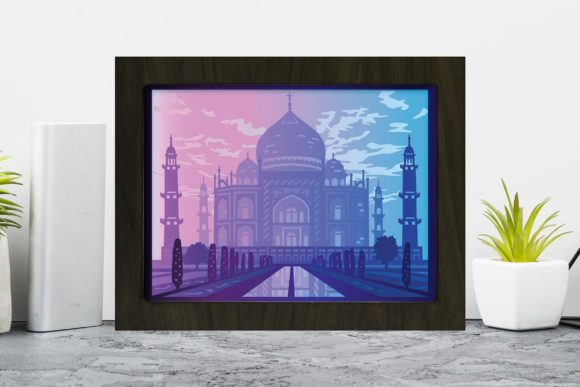 Download Free Taj Mahal 3d Paper Cutting Light Box Graphic By Lightboxgoodman for Cricut Explore, Silhouette and other cutting machines.