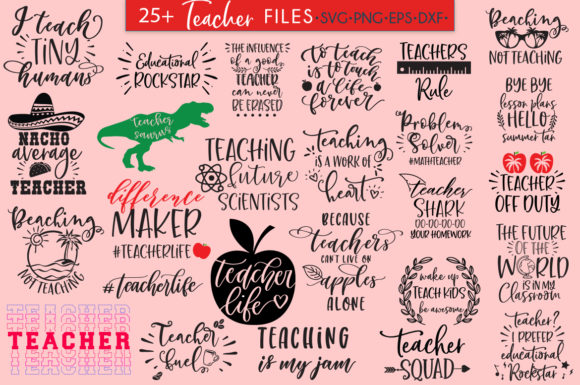 Download Free Teacher Bundle 25 Designs Graphic By Freelingdesignhouse for Cricut Explore, Silhouette and other cutting machines.