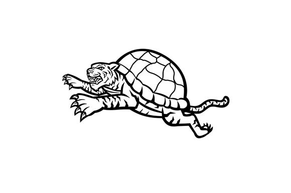 Download Free Turtle Tiger Leaping Side Graphic By Patrimonio Creative Fabrica for Cricut Explore, Silhouette and other cutting machines.