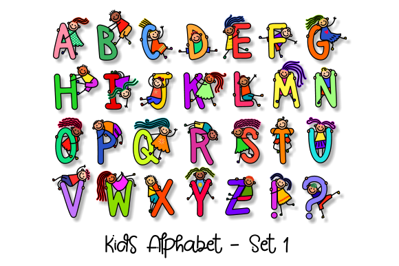 Download Free Uppercase Kids Alphabet Clipart Set 1 Graphic By Prawny for Cricut Explore, Silhouette and other cutting machines.